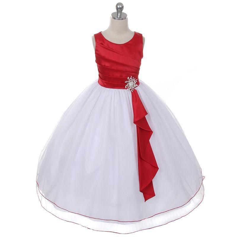 Новый красный белый цветок девушка платья день рождения свадьба невесты формальный повод маленькая девочка дети одежда Причастие партии Brithday