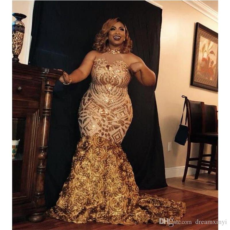 Plus Size Gold Mermaid Prom Dresses 2019 New Sleeveless Sweep Strain High  Neck Formal Evening Dress Party Gowns Prom Dress Patterns Prom Dress Shops  ...