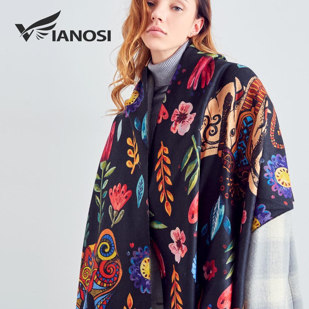 [VIANOSI] Orijinal Tasarım Baskı Yün Eşarp Kadınlar Sıcak Şal Kış Moda Bandana Kadınlar Kalınlaşmak Lüks Bufanda Mujer
