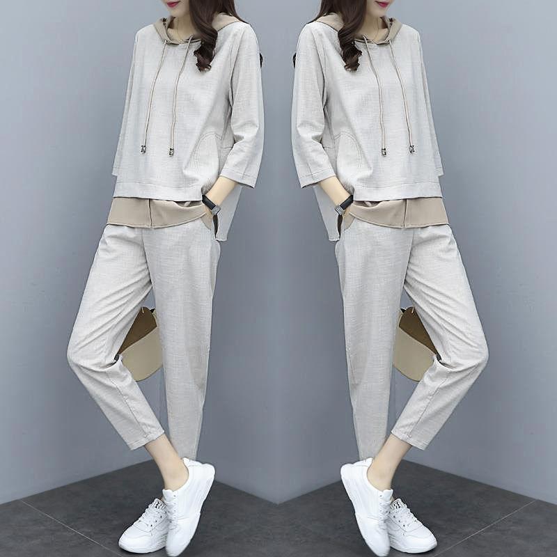 Set di 2 2020 molla nuovi sport casuale del vestito versione coreana di moda femminile i grandi pantaloni sciolti temperamento dimensioni di marea