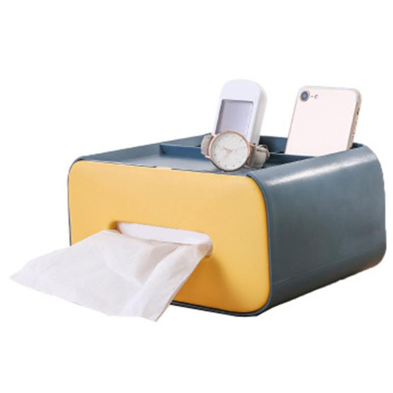Creative Plastic Multifunctional Tissue Box Remote Control Storage Tissue Box Dust-Proof Canister Desktop Storage