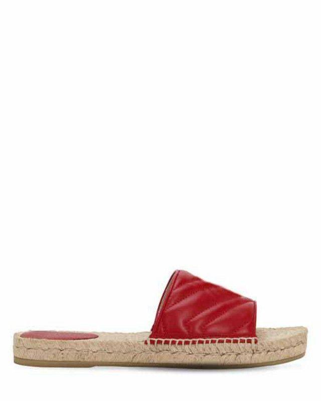 2019ss mulheres Vermelho 10mm Deslizamento De Couro Quilted Sandálias flats chinelos com Ouro colorido detalhe do logotipo do metal
