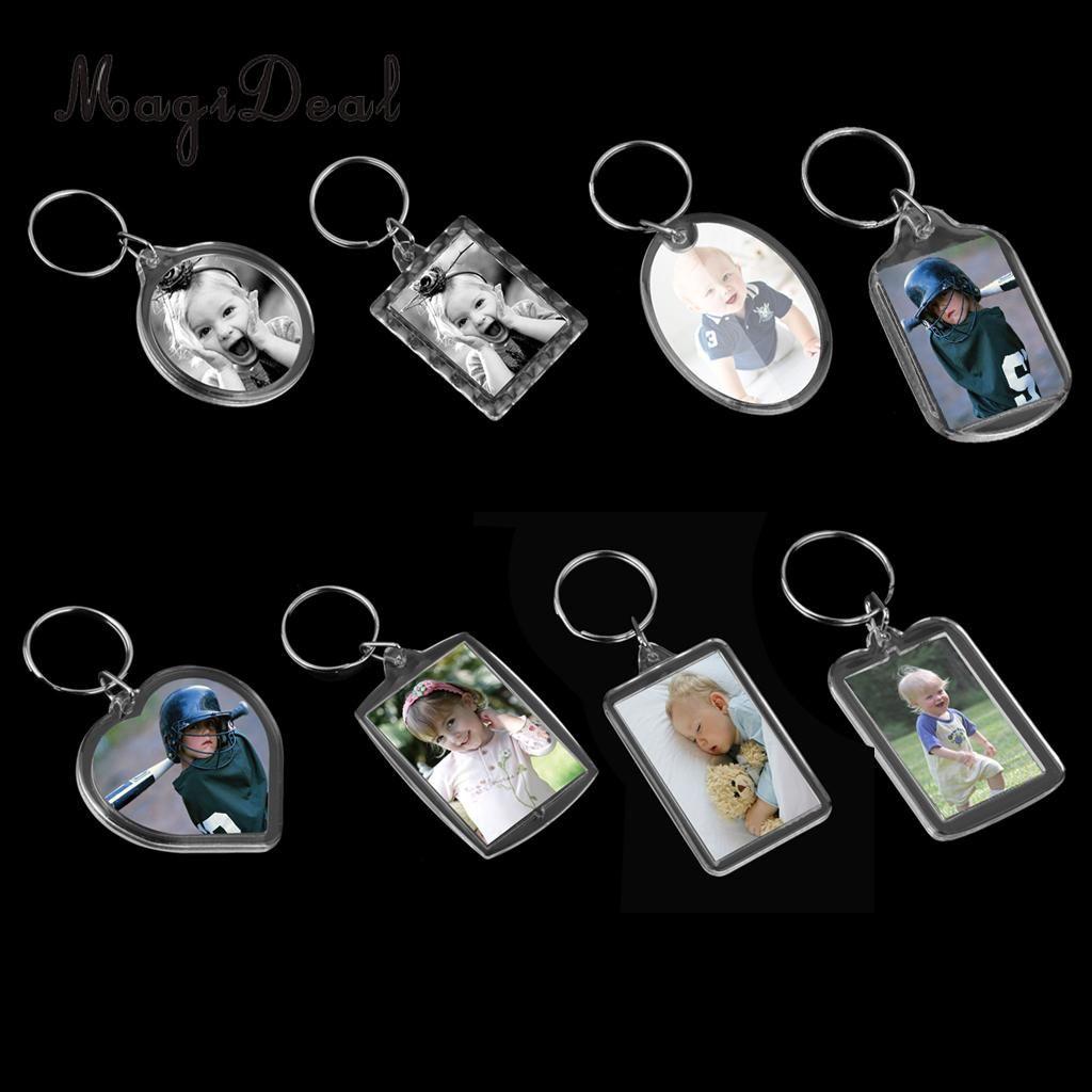 MagiDeal 8 стилей 10pcs Photo Keychain Акриловый Blank Вставка Фоторамка Split Ring сделать вашу семью с вами Scenic Сувениры