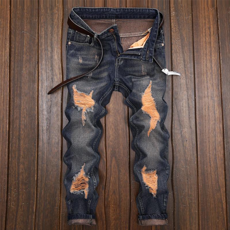 Avrupa ve Amerikan yeni delik kot ince pantolon erkekler rahat pantolon erkek moda uzun pantolon