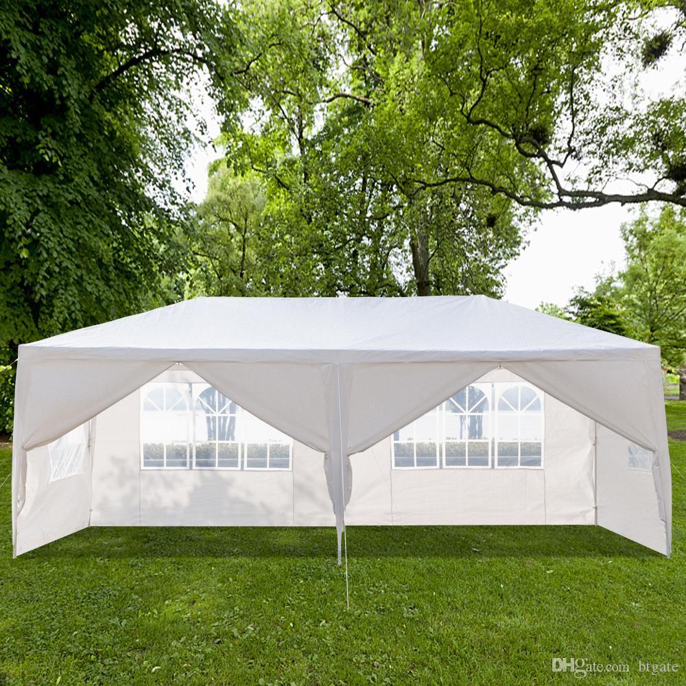 10x20FT Открытый Патио Свадьба Свадебная палатка 6 Оконные Стены Застегивания Застегивания Навесы Навесы Вечеринка Вечерина Сверхмощные 3x6m Водонепроницаемый Gazebo Павильон Cater События