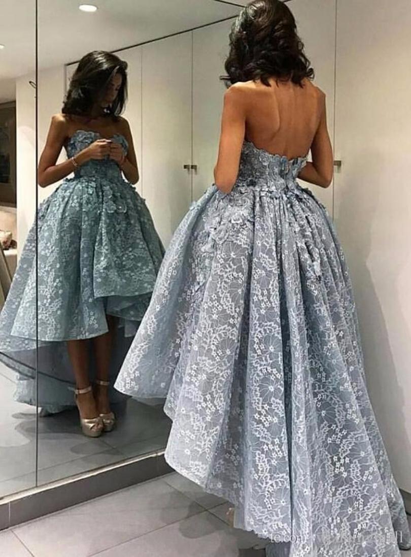 Işık gökyüzü Mavi 3d aplikler straplez Gelinlik Modelleri Uzun Dantel hi-düşük Örgün Akşam Parti Elbiseler Custom Made parti elbise