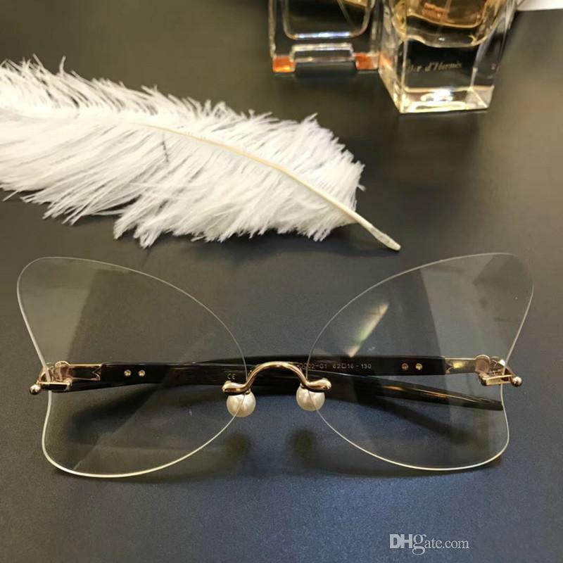 Luxury Popular Women Brand Design Percy Lau DC02 G1 Glasses Hollow Out Optical Lens Butterfly Frameless Black Pink Come With Brand Case