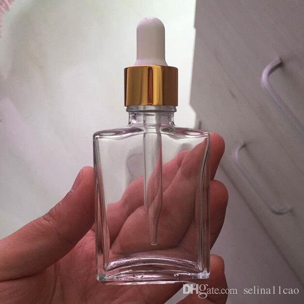 30 ml de jus vape liquide compte-gouttes bouteille en verre vide bouteille de fumée vide pour e-jus Rectangle avec capuchon argent doré et noir pour huile essentielle
