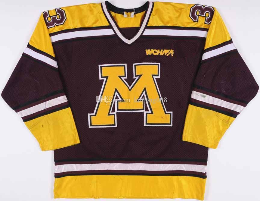 Mr. Minnesot1995 Nick Checco Universität Minnesota Golden Gophers Hockey Jersey Stickerei genäht Passen Sie jede Anzahl und Name Trikots an