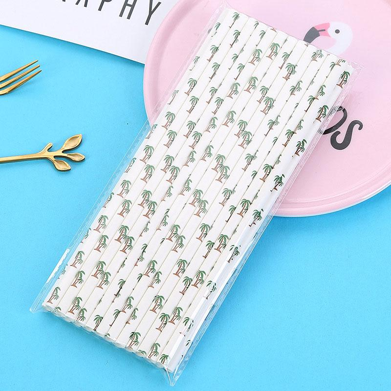 25pcs/bag Coconut Tree/Turtle Leaf/Cactus Paper Straws Wedding Party Disposable Straw Decoration Kids Favors Birthday Supplies 7