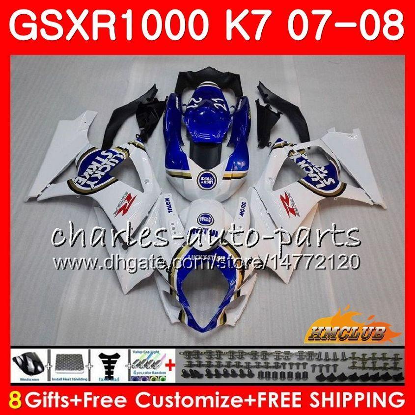 Кузов для Suzuki GSXR-1000 GSXR1000 2007 2008 07 08 Bodys 12HC.3 GSX R1000 GSX-R1000 K7 GSXR 1000 07 08 ABS Lucky Blue Stock Paining Kit