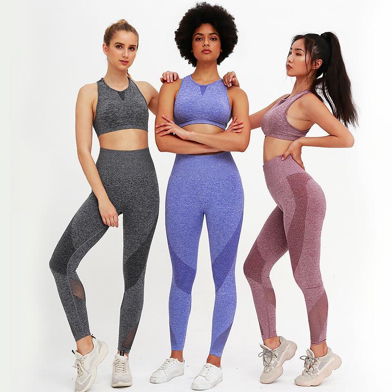 maille couture mode nouveau tricot sans couture des femmes yoga exercice physique jeu ensemble des vêtements d'entraînement vêtements de course