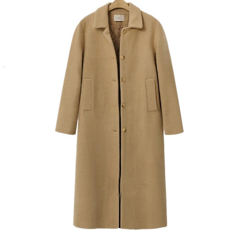 manteau femme Europeia 2019 New Outono Inverno Mulheres Oversized acolchoado de lã casaco quente Casacos simples casaco feminino