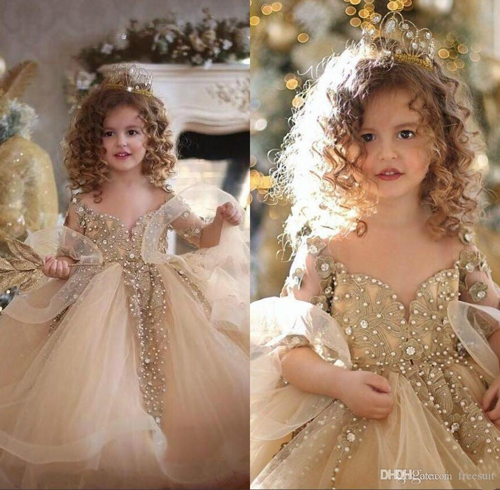 Champagne Ball Gown Flower Girl Dresses V Neck Long Sleeves Appliqued Ruffle Pearl Beaded Girl Pageant Gowns Custom Made Birthday Gown