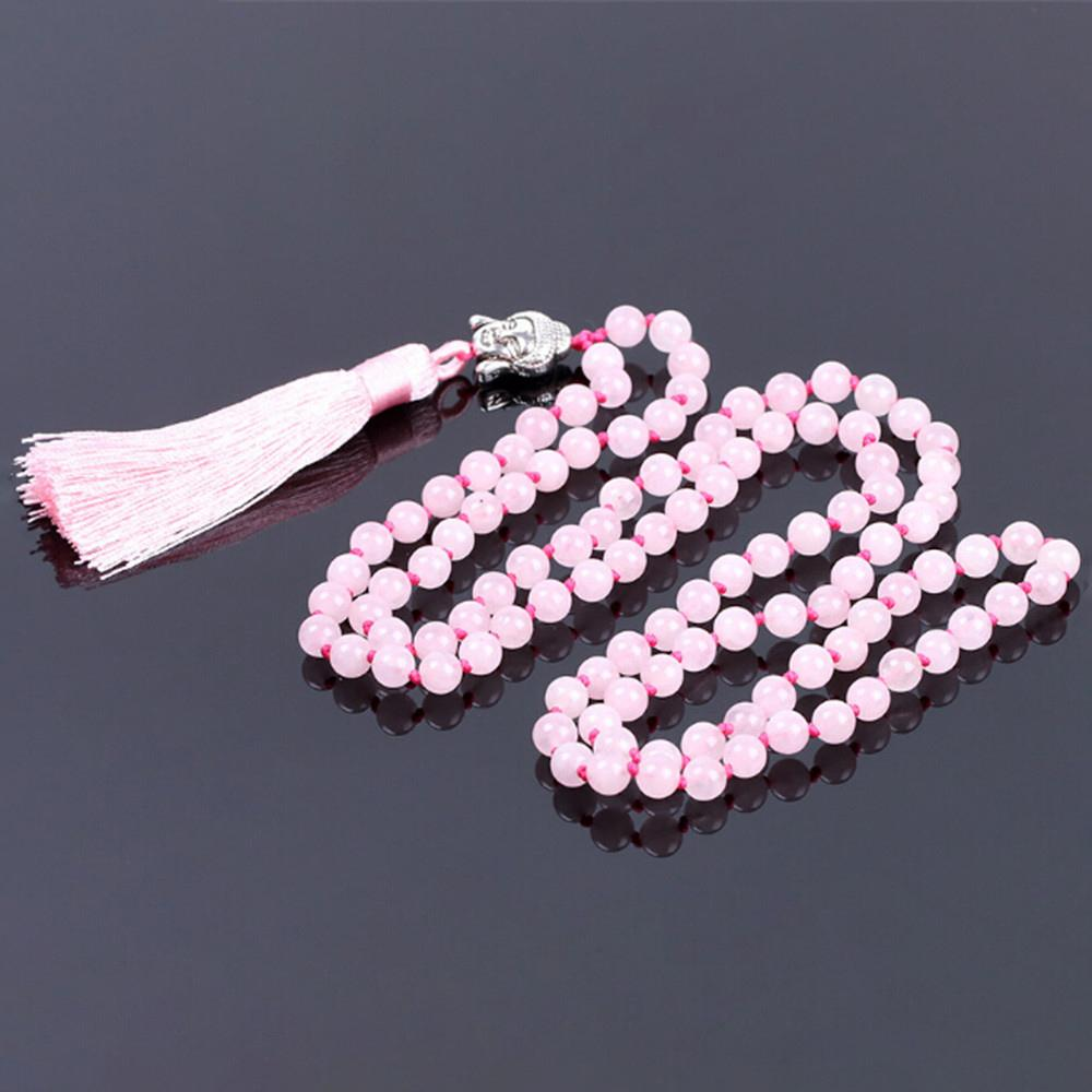 108 Knotted Yoga Mala 8mm Natural Pink Crystal Female Tassels Necklace Ancient Silver Buddha Head Pendant Necklace Sweater Chain