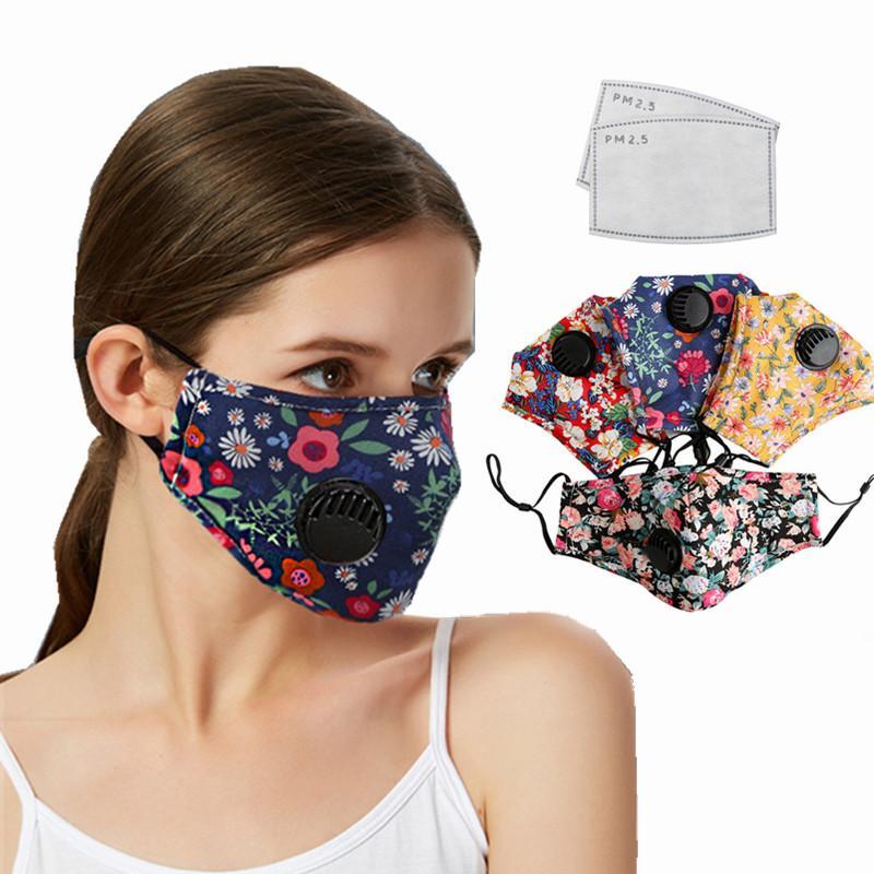 أزياء القطن قناع الوجه أقنعة التنفس قابل للغسل قابلة لإعادة الاستخدام الفم مع فلتر الكربون المنشط 2PCS PM2.5 للمرأة الصيف