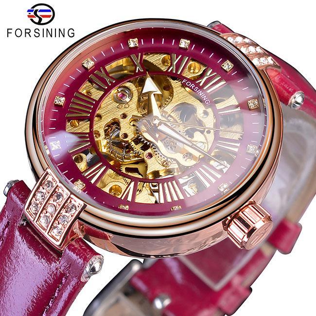 Forsining Moda Altın İskelet Elmas Tasarım Kırmızı Gerçek Deri Kayış Aydınlık Lady Mekanik Saatler Top Marka Lüks