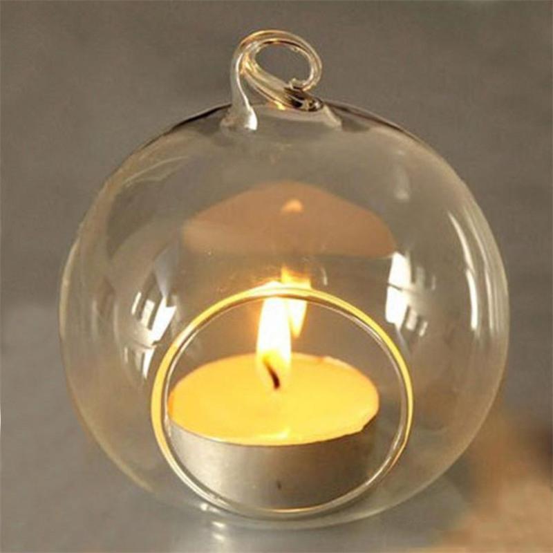 Cristal de verre suspendu Bougeoir Candlestick Accueil fête de mariage Dîner Décoration ronde en verre bullé Air Usine Boules DBC BH2651