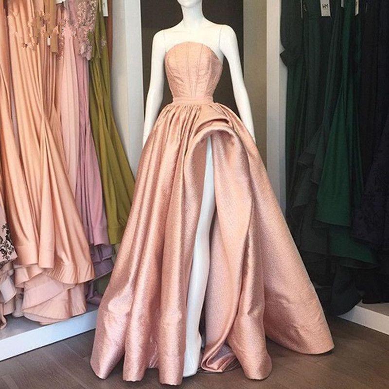 Sparkle Rose Gold Long Prom Dresses Sexy High Side Split A-line Prom Gowns Off Shoulder Plus Size 2020 Abendkleider Vestidos