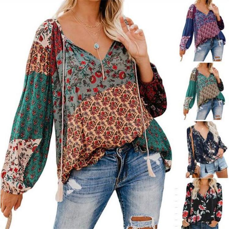 femmes concepteur t-shirts 2019 européennes et long automne américain imprimé floral col V chemise pull-over à manches femme blouse ample chemise