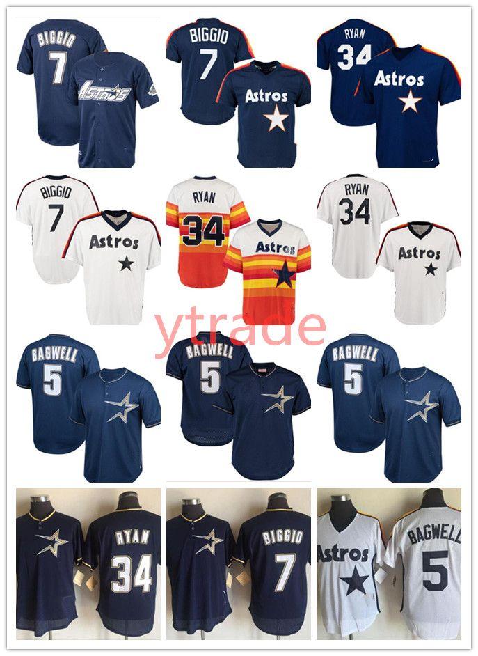 Hombre cosido hallback 7 Craig Biggio Houston Knit Jersey Astro 34 Nolan Ryan 5 Jeff Bagwell Vintage Jerseys