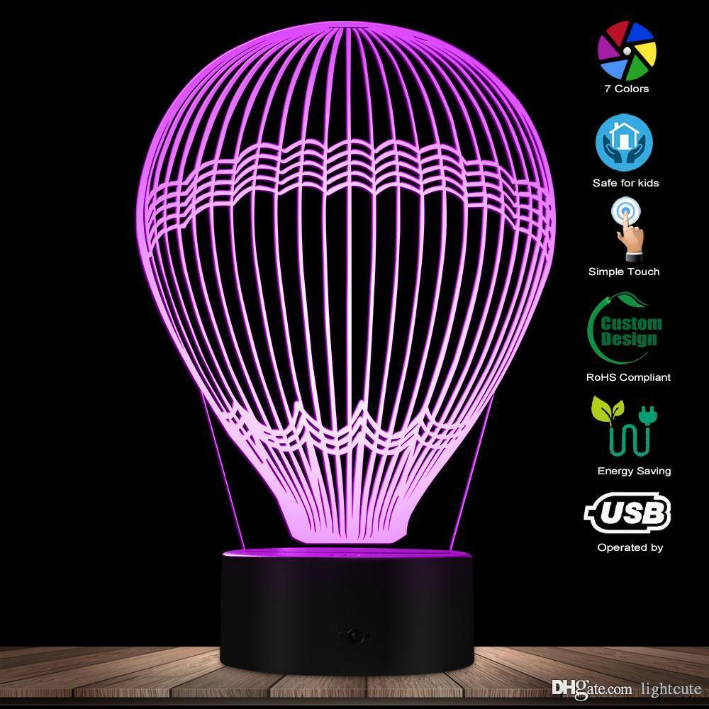 세계 장식 조명 키즈 룸 나이트 라이트 주위에 뜨거운 공기 풍선 3D 효과 빛나는 LED 램프 착시 테이블 램프