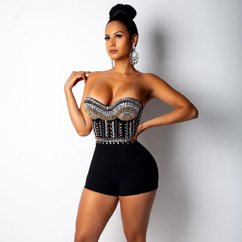 가을 여성 Bodycon Playsuits 파티 Strapless 럭셔리 다이아몬드 Rompers Celebrity Club 등이없는 점프 슈트 새로운 민소매 점프 슈트