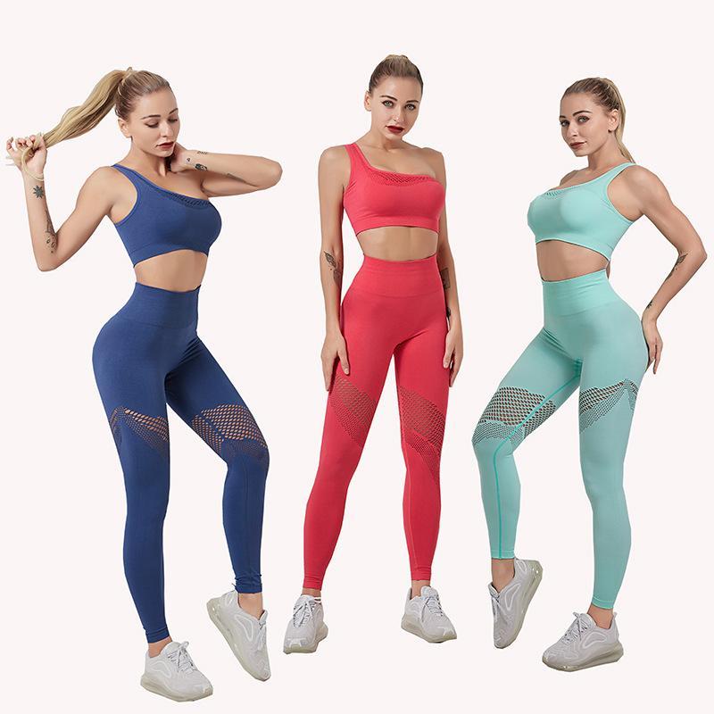 Kadınlar Spor Atletik Spor Takımları T200623 için 2 Adet Yoga Seti Kadınlar Salonu Giyim Tek omuz Spor Sütyen Spor Tozluklar Egzersiz Setleri