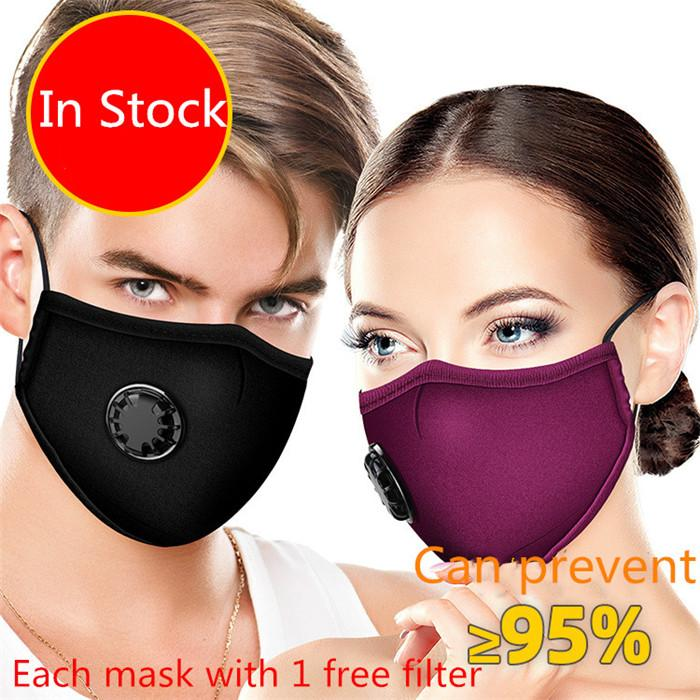 Algodón PM2.5 Boca máscara anti polvo con 1 filtro de carbón activado a prueba de viento Boca-mufla elástico ajustable de la mascarilla del bucle de 10pcs