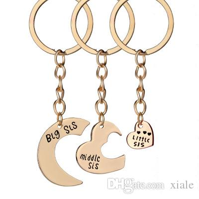 Big Mid Lil Sis Metal Sister Love Heart Family Keychain Gifts