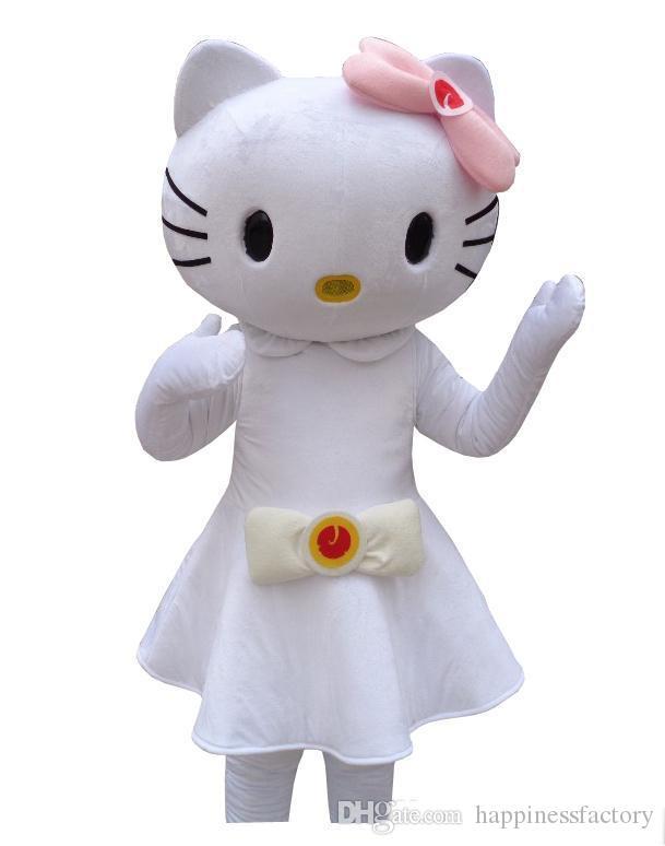 2019 venta caliente hola gatito traje de la mascota Hello Kitty gato vestido rosa personaje de dibujos animados para adultos animal Halloween fiesta Purim