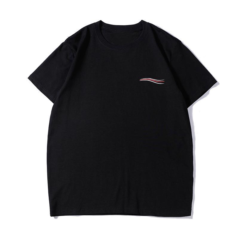 Мода Новые мужские стилиста футболки Summer Crew Neck хлопок Повседневная Короткие рукава Мужчины Женщины Тис