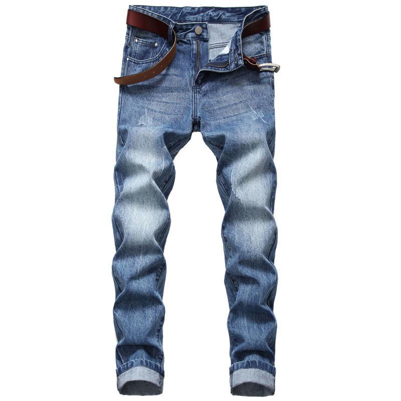 Мужские джинсы 2021 прямые тонкие молодежные светлые повседневные джинсовые брюки