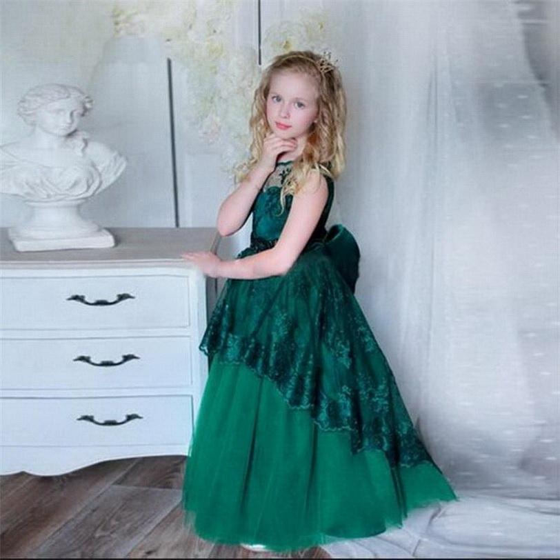 بنات حلوة اللباس مع القوس الكبير الرباط Sleevelesss زهرة فتاة فستان زفاف للبنات مسابقة فساتين بالطلب عن 2-14 سنوات