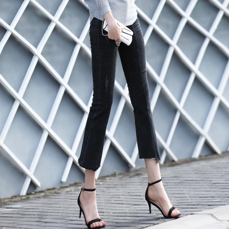 2019 pantalones vaqueros de las mujeres del otoño borlas de la personalidad delgada arrancaron los tobillos NW19C6260 femenina delgada del otoño de la moda de los pantalones vaqueros de las mujeres