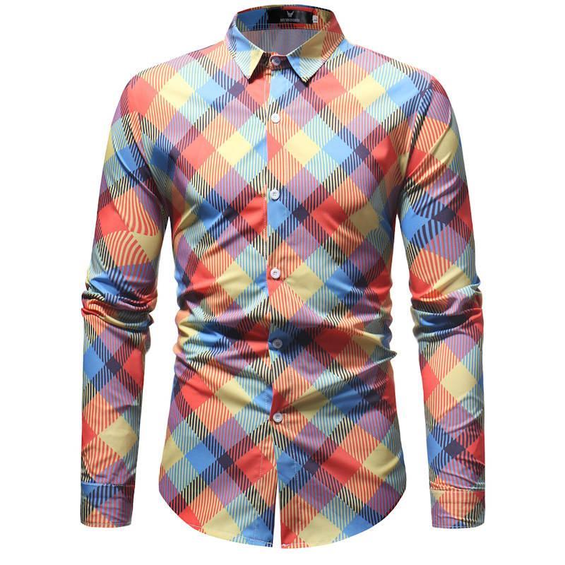 2019 Retro Çiçek Baskılı Erkekler Günlük Gömlek Klasik Erkekler Elbise Gömlek Erkekler Uzun Kollu Yeni Moda Bahar