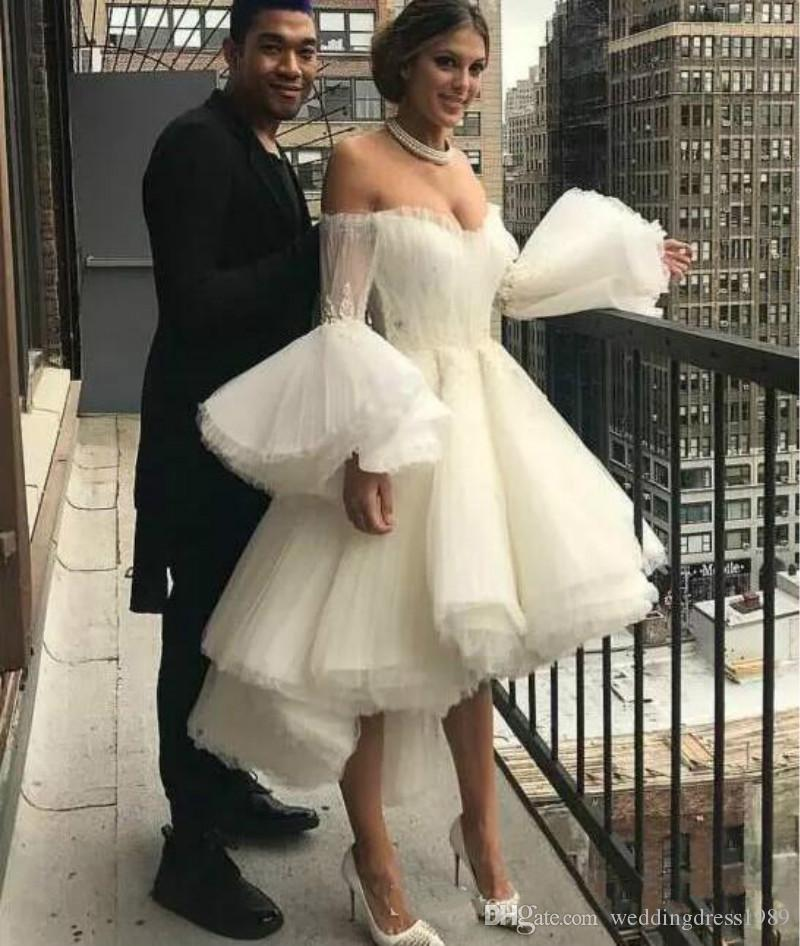 Newest 2020 Puffy Sleeve Wedding Dresses High Low Tiers Off Shoulder Country vestido de noiva Sexy Bridal Gown Ball Custom