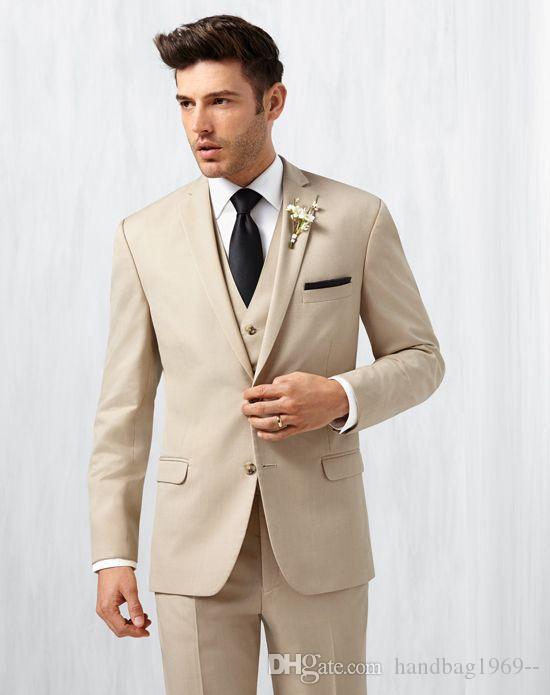 New Arrivals Beige Work Man Business Suits Notch Lapel Man Blazer Mens Wedding Dress Groom Tuxedos Suits (Jacket+Pants+Vest+Tie) H:583