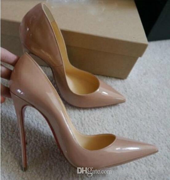 الشحن مجانا حتى كيت أنماط 12 سنتيمتر ارتفاع كعوب أحذية أحمر أسفل اللون عارية جلد طبيعي بوينت تو المرأة مضخات أحذية الزفاف المطاط