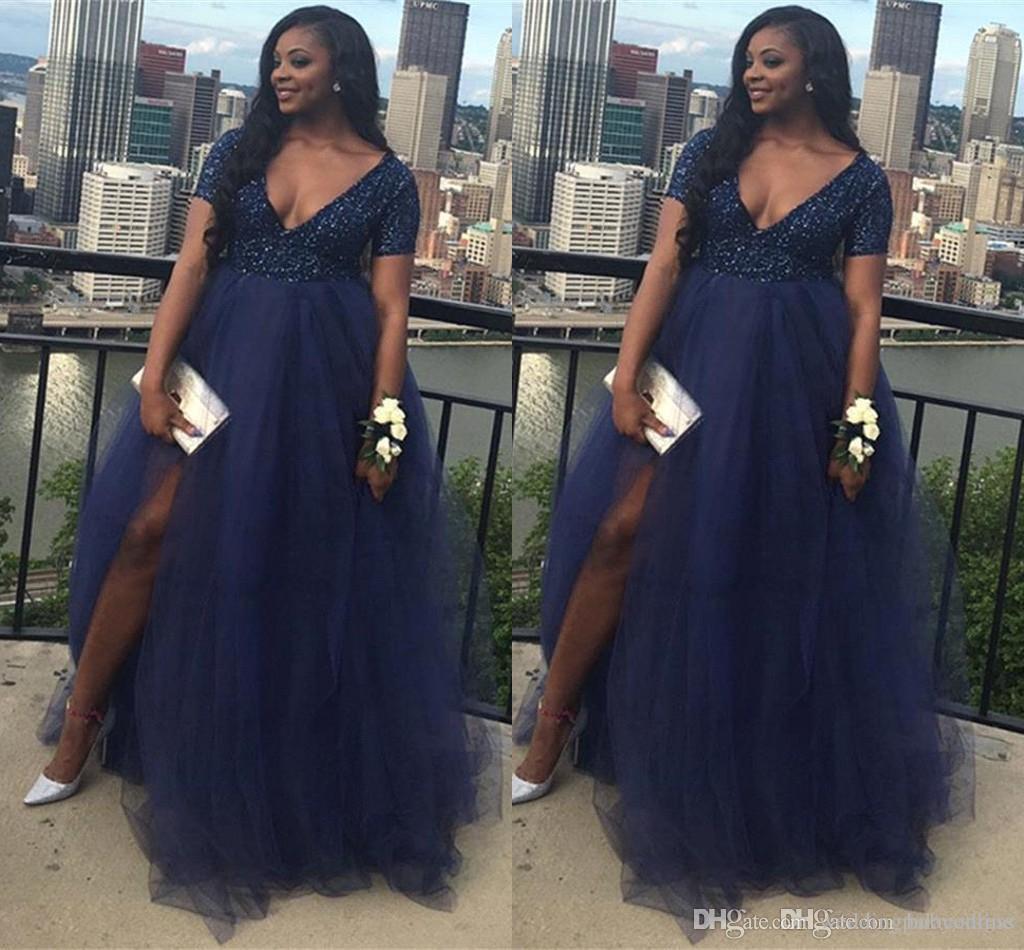 Navy Blue Plus Size Prom Dresses Black Girl 2K19 Beaded Top Tulle Skirt  Split A Line V Neck Evening Gowns Maternity Prom Dresses Vestidos Red Prom  ...