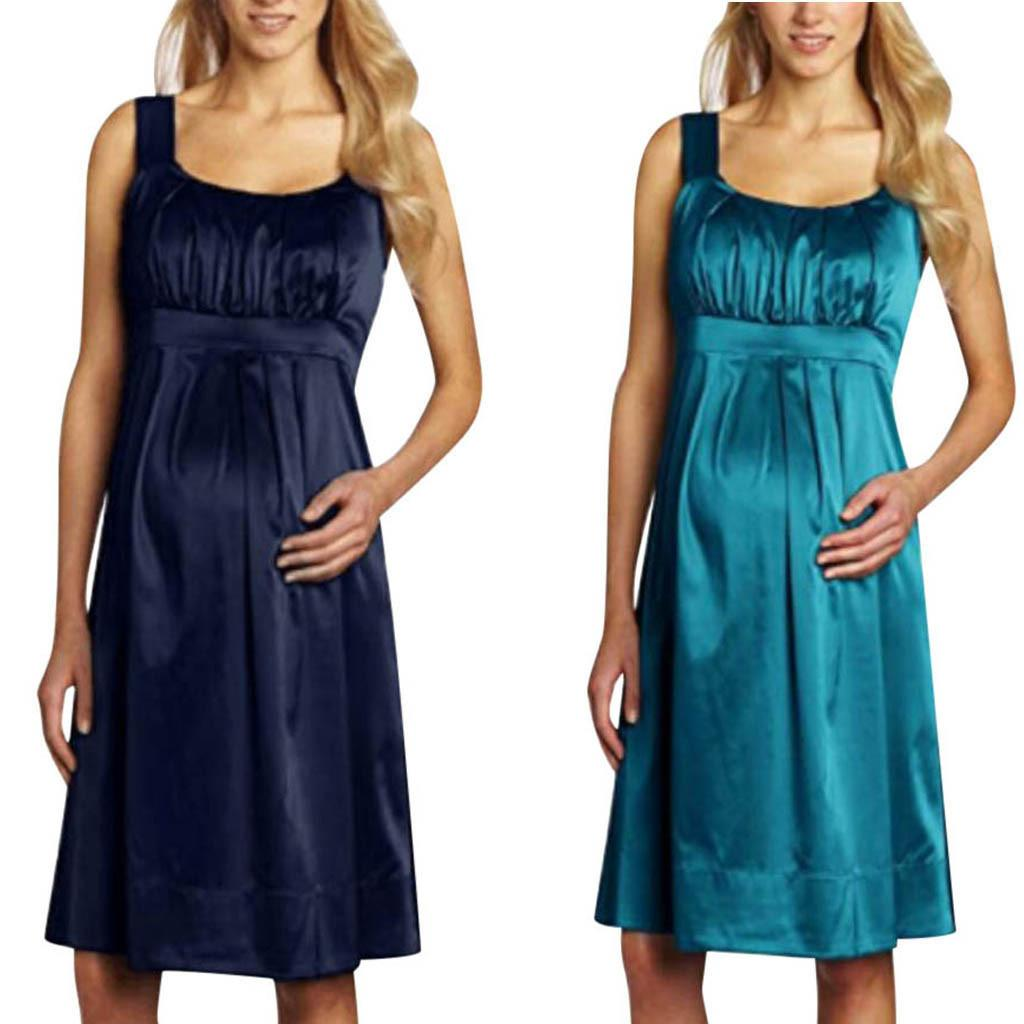 Платья для беременных женщин без рукавов оборки a-line беременность платье халат Grossesse лето повседневная платье для беременных матерей