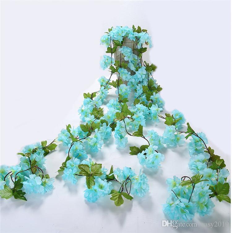 230cm Silk Sakura Cherry Blossom Vine Львы Свадебная арка украшения Компоновка Главная партия Rattan Гобелен Гарланд Венок стропальщиков