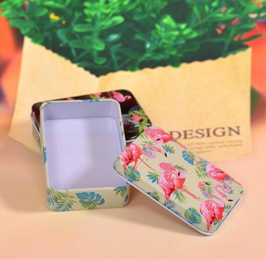 DHL Coleccionables Cajas de lata Contenedor Pequeño Mini Caja de lata Organizador Latas de almacenamiento de metal Caja de dulces Flamencos Cajas de patrones inicio ns
