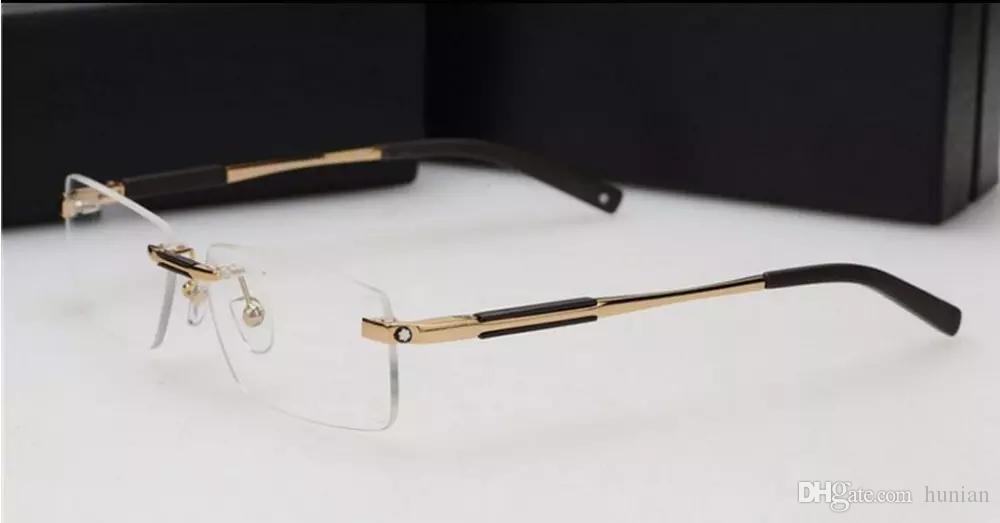 Ücretsiz kargo marka cam Optik çerçeve Erkekler Marka 2016 çerçevesiz gözlük çerçeveleri MB349 tasarımcı puan erkekler fit okuma gözlükleri
