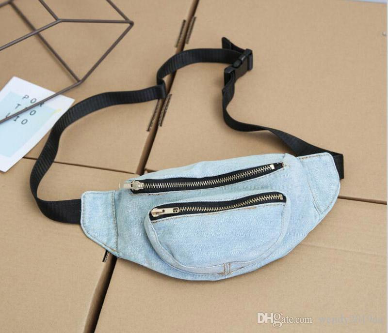 5 adet Bel Çantaları Kadınlar Demin Düz Casual Bel Fanny Paketi Kovboy En Fermuar Göğüs Bags 2colors