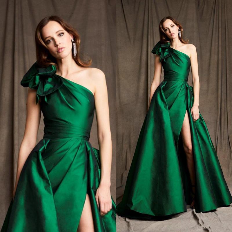 2020 robes de soirée verte une épaule Zuhair murad une ligne robe de bal saoudite Arabie Saoudite Célébrité Robe de tapis rouge