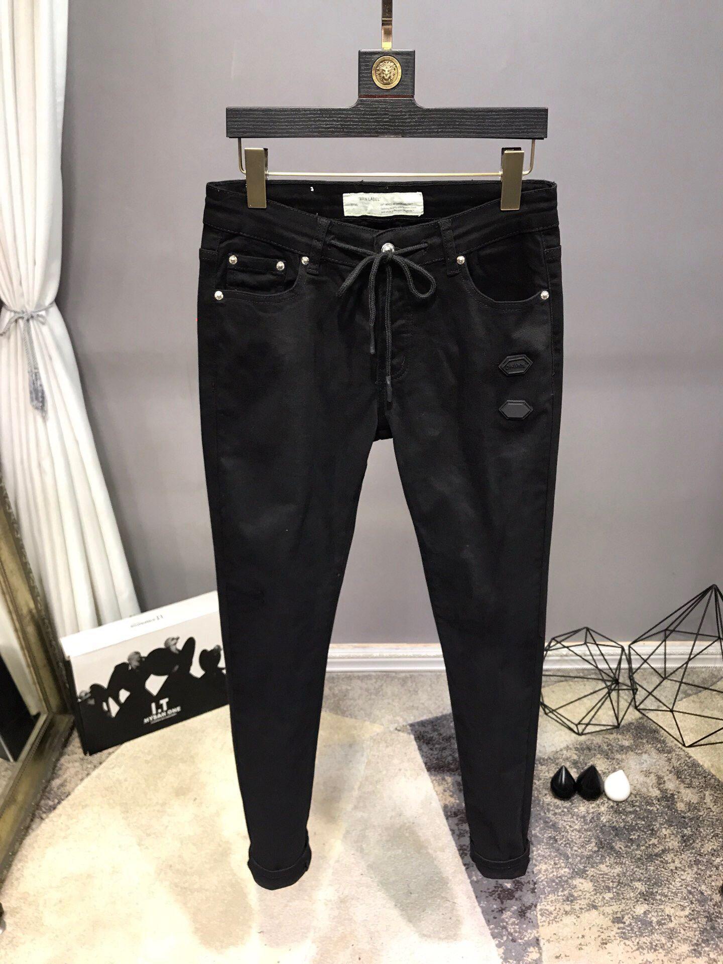 NOVO Francês sólida clássico do estilo Jeans Slim Fit Motociclista Denim homens de Moda Designer Tamanho Hop Jeans Mens Top Quality 61