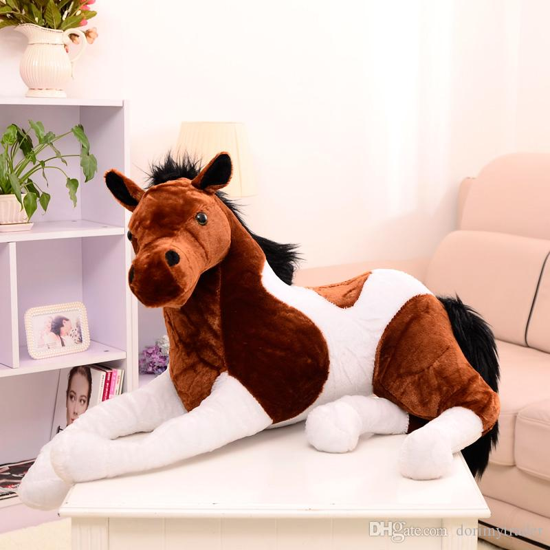 Simulation Animal Lying Horse Plush Toy Stuffed Soft Horse Doll 4 Colors Birthday Gifts for Kids Decoration 70cm x 40cm 130cm X 60cm
