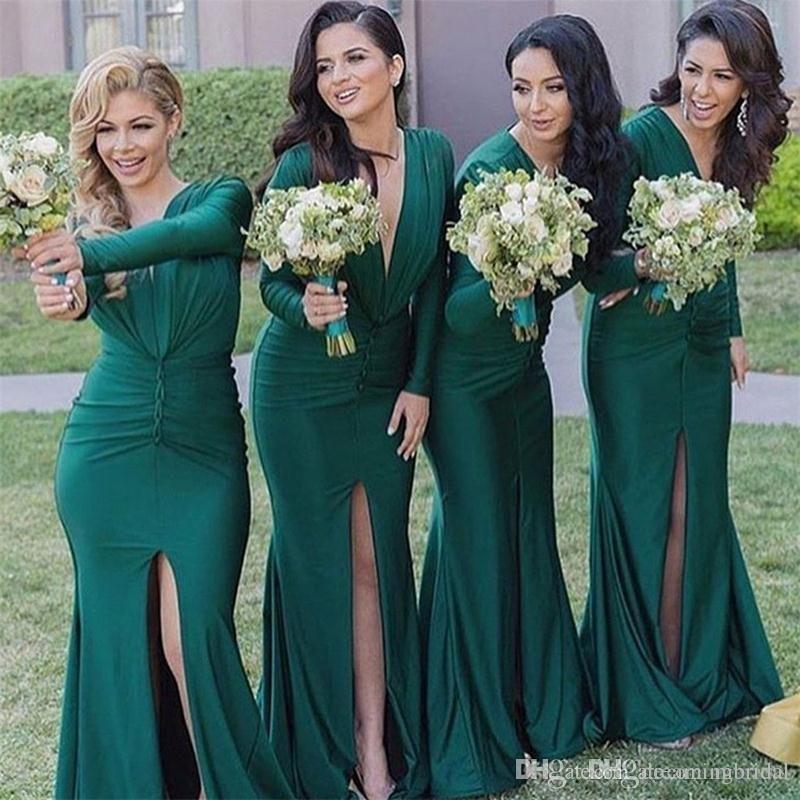 Сексуальные темно-зеленые русалки платья подружки невесты длинные без рукавов Deep V-шеи Ruched Draped раскол переднего формального формального платья вечерние платья