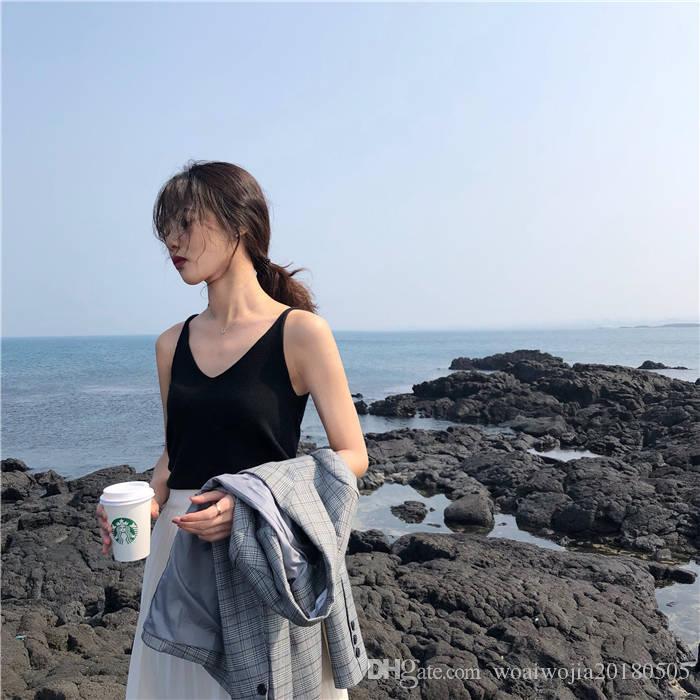 20190422 Maglia da donna in maglia da donna estiva, da indossare sotto la giacca da donna